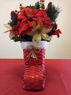 Santa Boot Christmas Floral Arrangement by HomeHearthDecor on Etsy, $29.99