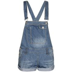Boohoo Dahlia Denim Roll Hem Dungarees ($26) ❤ liked on Polyvore featuring jumpsuits, rompers, shorts, overalls, playsuits, denim jumpsuit, blue romper, blue jump suit, denim dungaree and jumpsuit overalls