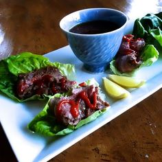 Grilled Marinated Flank Steak in Lettuce Cups