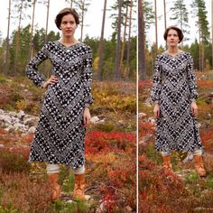 Vintage Finnish design dress by Golden Finn by AuroraNordicVintage Marimekko Dress, Hand Painted Fabric, Fabric Painting, Flower Patterns, Dresses For Sale, Designer Dresses, Floral, Modern, Cute