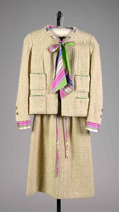 Suit, wool and silk with metal, Coco Chanel designer for House of Chanel, French, ca. 1962