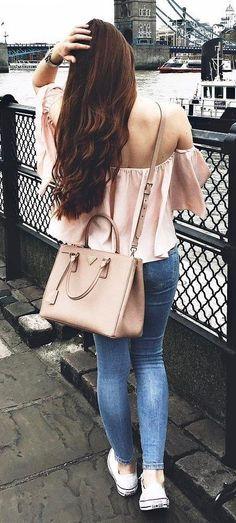 blush off shoulder top +bag + skinny jeans