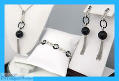 Black Agate and Diamond 1.50 ct. Set with Screw back Earrings