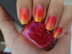 Tropical Gradient  OPI's Pompeii Purple, China Glaze's High Hopes, Peachy Keen & Sunshine Pop