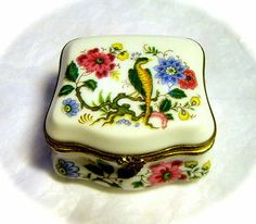 Authentic French Limoges France Blue Jay Bird Lily Daisy Trinket Box Peint Main