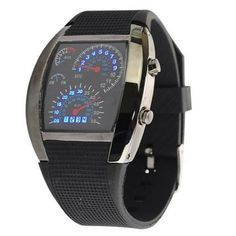 RPM Turbo Blue Flash Led Sports Car Meter Dial Watch