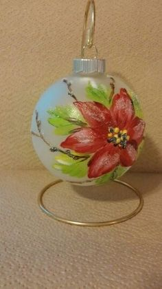"""Christmas Ornaments, Hand Painted Poinsetta 4"""" Ball"""