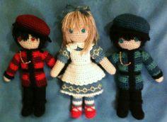 Amigurumi Alice with Tweedle Dee and Tweedle Dum.