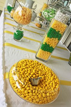Candy bar.... not these colors, but I like the layered jar...