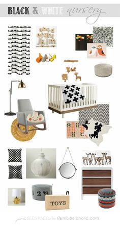 Designing a Black and White Nursery | Just The Bees Knees for Remodelaholic.com #baby #nursery #black_and_white