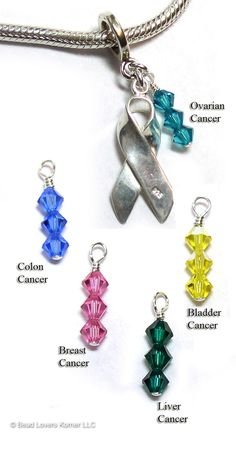 Cancer Awareness Sterling Silver Charm with Crystals, choose color for Ovarian Cancer, Colon Cancer, Breast Cancer, Liver Cancer or Bladder Cancer.