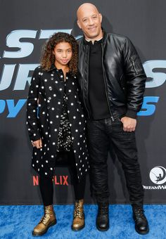 Vin Diesel Supports Daughter, at Premiere of Her New Animated Fast & Furious Netflix Series - Fushion News Celebrity Travel, Celebrity Outfits, Celebrity Photos, Vin Diesel Shirtless, Wearing All Black, Scott Mccall, Karl Urban, The Expendables, Hot Guys