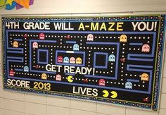 Clever Back to School Bulletin Board Ideas - Crafty Morning Do you think kids will get a Pac Man reference?