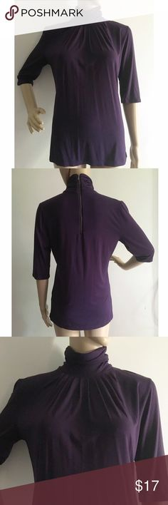 """Banana Republic 3/4 sleeve turtleneck top M Excellent pre-loved condition! Worn once. Exposed zipper in the back. 91% rayon, 9% spandex. Approx 34"""" bust, 25"""" length. Banana Republic Tops"""