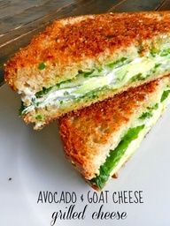 """beautiful, healthy & delicious avocado and goat cheese ""grilled cheese"" aka green grilled cheese. perfect for so many parties, sliced up as appetizers or snacks. Patrick's Day, Christmas, or any other green themed party or sports team event"" yummy! I Love Food, Good Food, Yummy Food, Vegetarian Recipes, Cooking Recipes, Healthy Recipes, Burger Recipes, Avocado Recipes, Salmon Recipes"