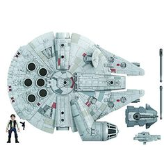 """Amazon has the Star Wars Mission Fleet Han Solo Millennium Falcon 2.5-Inch-Scale Figure and Vehicle, Toys for Kids Ages 4 and Up marked down from $41.99 to $19.99. That is 52% off retail price! TO GET THIS DEAL: GO HERE to go to the product page and click on """"Add to Cart"""" Final price =… Millennium Falcon, Luke Skywalker, Chewbacca, Princesa Leia, Star Destroyer, Obi Wan, Han Solo Figure, Jouet Star Wars, Brazil"""