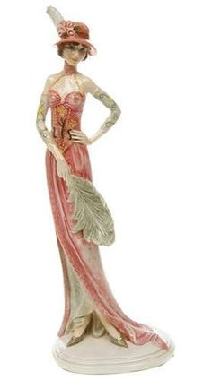 Art Deco Flapper Pink Ceramic Lady Feather Fan Figurine Sculpture Statue Vintage | eBay
