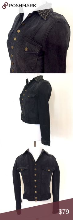 """Current Elliot Denim Snap Jean Stud Jacket Small Current Elliot Denim Midnight Snap Jean Studded Jacket Stud Coat Grunge Punk S  Awesome dark denim snap jean jacket with antique bronze colored collar studs.  Excellent Condition!  Size: Small Bust (flat): 16"""" Back (shoulder to shoulder): 15.5"""" Length (from shoulder): 18""""  Sleeve (from armpit) 16""""   99% Cotton. 1% Elastin.   Please check out my Trixy Xchange Store for more jackets! :) Current/Elliott Jackets & Coats Jean Jackets"""
