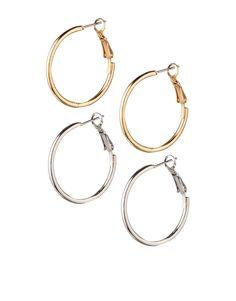 Image 1 ofASOS Two Pack Simple Hoop Earrings
