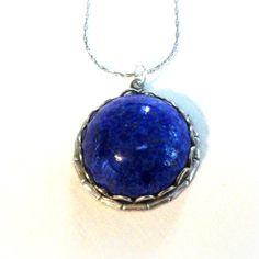 Lapis Pendant Necklace Sterling Silver Lapis Lazuli by pink80sgirl, $35.00