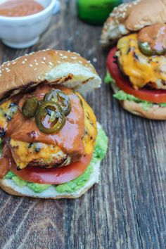 Jalapeno Cheddar Chicken Burgers with Chipotle Barbecue Aioli | Bites of Bri