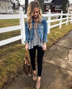 Spring Outfit Ideas --- legginsa and jean jacket with louis vouitton neverfull