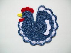 Crochet Farm Animals | Crochet Blue Chicken Rooster Farm Animal Pot Holder Potholder Hot Pad ...