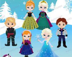 Sólo Elsa sólo Anna princesa gráfico Digital nieve por Alefclipart
