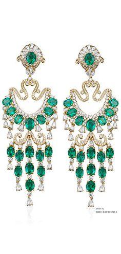 Farah Kahn Zambian Emerald Chandelier Earrings