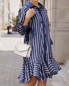 Shop Stripe Button Through Pep Hem Shirt Dress right now, get great deals at Divasruby Mermaid Prom Dresses Lace, Pencil Skirt Outfits, Mode Hijab, Fashion To Figure, African Dress, Striped Dress, European Fashion, Blouse Designs, Casual Outfits