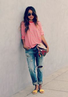 Boyfriend jeans look great with a relaxed top and fun accessories