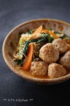 肉団子と春菊、えのきのピリ辛味噌煮|レシピブログ