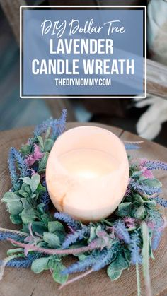 How to make a lavender candle wreath using faux lavender and lamb's ear florals. With supplies from Dollar Tree, this Spring Decor DIY is budget friendly! Diy Spring Wreath, Diy Wreath, Wire Wreath Forms, Diy Gifts For Kids, Diy Easter Decorations, Dollar Store Crafts, Mason Jar Crafts, How To Make Wreaths, Dollar Tree