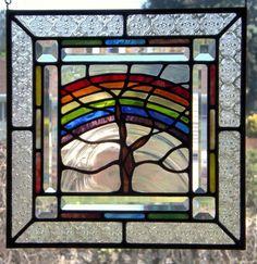 Stained Glass Panel Tree Rainbow bunte Startseite Fenster Dekor