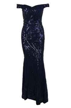 Honey Couture HAILEY Blue Sequin Off Shoulder Evening Gown Dress