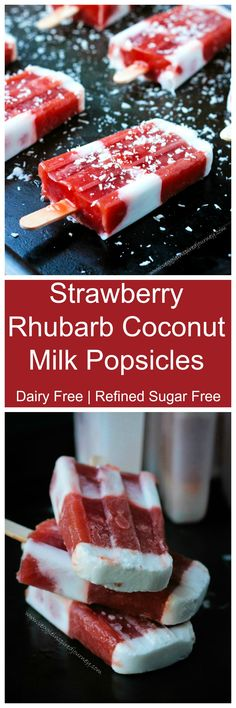 Strawberry Rhubarb Coconut Milk Popsicles - a cool, refreshing, creamy, sweet and tart dairy free summer treat! Thanks for for the recipe for this cool rhubarb treat. Frozen Desserts, Frozen Treats, Vegan Desserts, Dessert Recipes, Scd Recipes, Weight Watcher Desserts, Gelato, Coconut Milk Popsicles, Low Carb Dessert