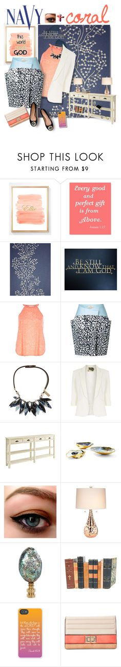 """""""Navy + cream + coral to be still and know"""" by thesouthernsnowflake ❤ liked on Polyvore featuring SANDERSON, River Island, Weekend Max Mara, Jolie Moi, Powell Furniture, Kathy Ireland, COVERGIRL, Hillary Thomas Designs, Decorative Leather Books and Melie Bianco"""