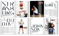 This is an awesome spread! This spread inspired me the most because I was hoping to do a sports layout. This organization and grid is something I've never seen before, it is amazing. I think how they split up all the athletes and gave them separate profiles. The pictures used for each athlete really hooks the reader in.