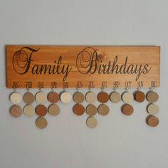 Family Birthday Calendar Family Birthdays by JackiesCraftShop
