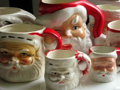 Vintage Santa Mugs - Still have one of these.