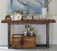 Pottery Barn believes in Eco Friendly Furniture that is fabulous. The Griffin Reclaimed Wood Console Table provides all types of functionality whether you turn it into a bar or the hallway book table. Wrought Iron Console Table, Iron Table, Console Tables, Hall Tables, Sofa Tables, Dining Tables, Dining Area, Pottery Barn Furniture, Reclaimed Wood Furniture