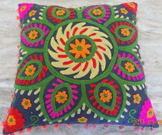 Cotton-Suzani-Hand-Embroidered-Cushion-Cover-Indian-Uzbek-Traditional-Duvet-Cove