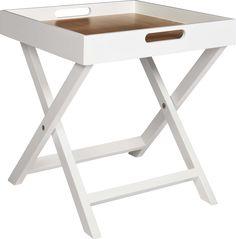 Oken hvitlakkert brettbord med sammenleggbart understell og brettbunn i eik. Dimensjoner: B40 x D40 x H44cm. Kr. 560,- Vanity Bench, Woodworking, Reading, Books, Furniture, Home Decor, Woodwork, Livros, Homemade Home Decor