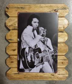 Elvis Presley Retro Metal Picture Poster Framed in Distressed Pinewood by ArtMaxAntiques on Etsy