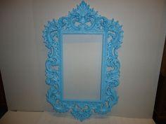 Georgeous Large Aqua Baroque/Rococo/ Style Ornate Burwood Product Co. Frame - Paris Apartment - Cottage Home - Wedding Frame - Photo Prop