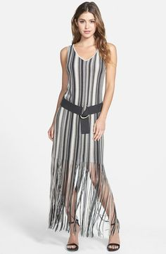 NIC+ZOE Belted Fringed Stripe Tank Dress (Regular & Petite) available at #Nordstrom