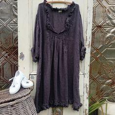 Robe de lin One size correspond à plus du charbon de bois.