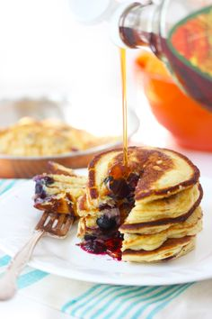 Fluffy Paleo Pancakes: 1/2 cup blanched almond flour; 1/2 cup tapioca flour; 2 eggs; 1/4 cup unsweetened applesauce; 1 tsp baking powder; ½ tsp vanilla; Add-ins of choice