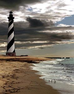The Cape Hatteras Lighthouse = LOVE! We used to vacation here every year - back in the day when you could climb each and every step up to the top, unattended, and go outside for an awesome view of the ocean.