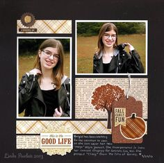 """*Good Life - Echo Park Paper's """"Reflections: Fall"""" collection * - Two Peas in a Bucket - layout by designer Linda Auclair 12x12 Scrapbook, Scrapbook Page Layouts, Scrapbooking Ideas, Echo Park Paper, Photo Sketch, Fall Family, Fall Collections, Fall Halloween, Life Is Good"""